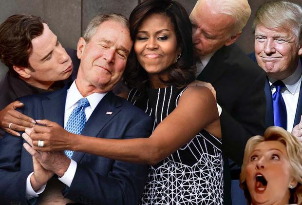 Мишель Обама и Буш
